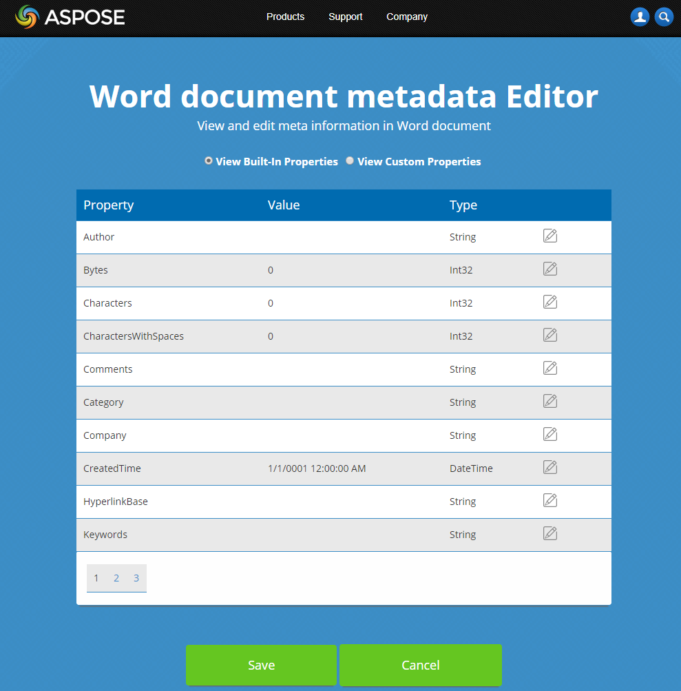 Free online Word document Metadata Editor | File Format Apps