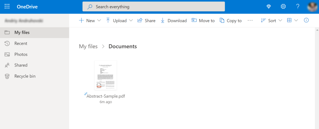 Upload PDF document to the OneDrive folder.
