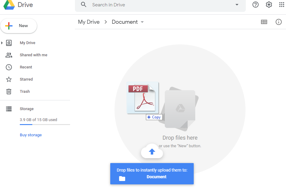Upload document to Google Drive