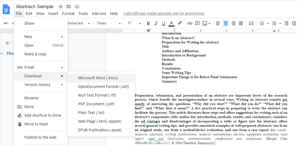 Converted document in Google Docs