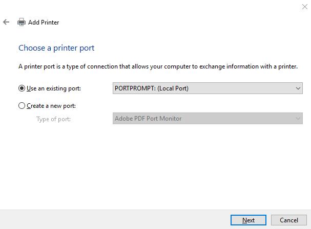 """""""Choose a printer port"""" dialog"""
