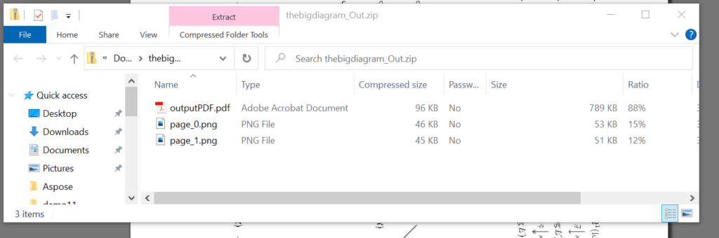 The image shows the ZIP-folder with the results.